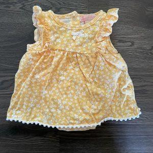 Yellow floral bodysuit dress